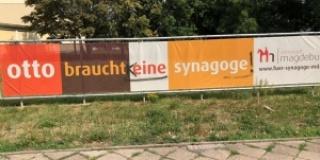 """""""Otto braucht eine Synagoge""""  - wieder Beschädigung  des Banners"""